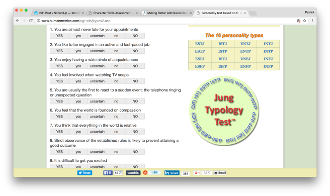 The Myers-Briggs personality test website